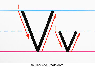 Letter writing practice. - Close up of letter V handwriting...