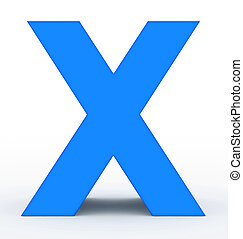 letter X 3d blue isolated on white