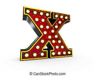 Letter X 3D Broadway Style