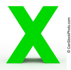 letter X 3d green isolated on white