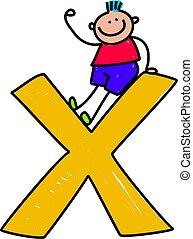 letter X boy - happy little caucasian boy sitting ontop of a...
