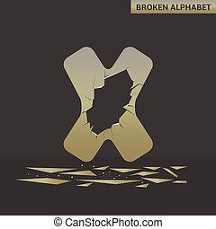 Letter X. Broken mirror