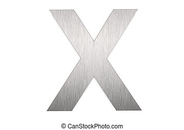 Letter X - Brushed metal letter X on white background