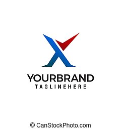 letter X check mark logo design concept template vector