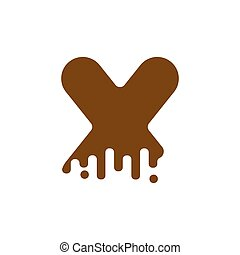 Letter X Chocolate font. sweetness alphabet. Liquid lettering. Sweet viscous ABC sign