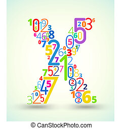 Letter X, colored vector font from numbers