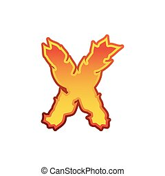 Letter X fire. Flames font lettering. Tattoo alphabet character. fiery sign alphabet