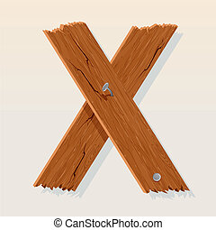 Letter X From vector Wooden Alphabet