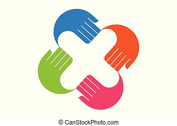 letter x hand fingers color logo icon