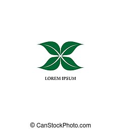Letter x illustrated with green leaf shape. Logo Design template. Nature logo concept isolated on white background. Save the earth, save our planet.