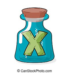 letter X in bottle for experiments. Letter in vessel. Laboratory research vessel. Vector illustration figure for chemical tests.