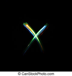 Letter X Light Painted - A unique font created by free hand...