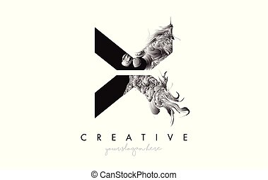 Letter X Logo Design Icon with Artistic Grunge Texture In Black and White