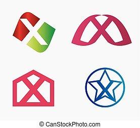Letter x logo icon set