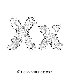 Letter X made of peonies and roses on white background