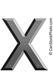 Letter X - Metallic letter X isolated on white background
