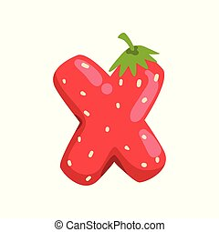 Letter X of English alphabet made from ripe fresh srawberry, bright red berry font vector Illustration on a white background
