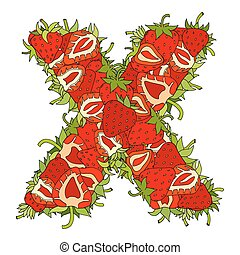 Letter X of strawberrys with green leaves