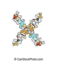 Letter X Rubbish. Trash font. garbage alphabet. Lettering litter