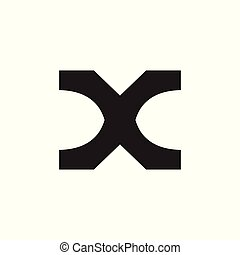 letter x simple geometric abstract logo vector