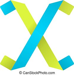 Letter X - Alphabet character X, paper fold design.