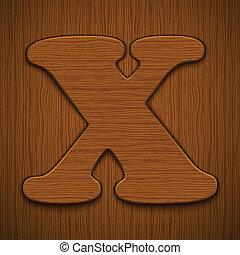 "Letter ""X"". Wooden alphabet. Vector illustration."