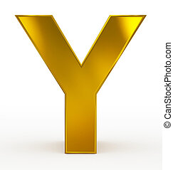 letter Y 3d golden isolated on white