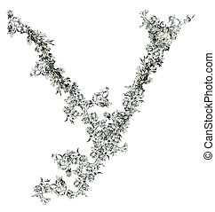 Capital letter Y from flowers in vector.