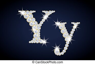 "Letter ""Y"" composed from diamonds with golden frame...."