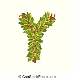 Letter Y, English alphabet made of tree branches, ecology element for banner, card, label, presentation or poster vector Illustration