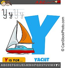 letter Y from alphabet with cartoon yacht