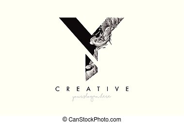 Letter Y Logo Design Icon with Artistic Grunge Texture In Black and White