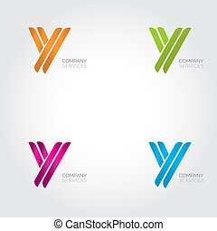 Letter Y logotype design. Abstract letter icon logo set.