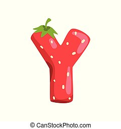 Letter Y of English alphabet made from ripe fresh srawberry, bright red berry font vector Illustration on a white background