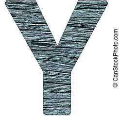 Letter Y of the alphabet, with wood texture in blue color