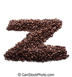 letter z, alphabet from coffee bean