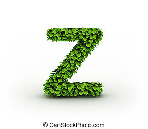 Letter Z, alphabet of green leaves isolated on white background, lowercase