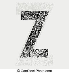 Black grunge letter Z on gray background. eps10
