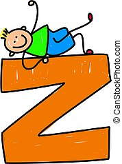happy little boy climbing on giant letter Z isolated on white - toddler art series