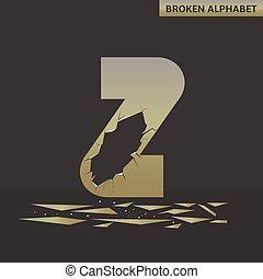 Letter Z. Broken mirror
