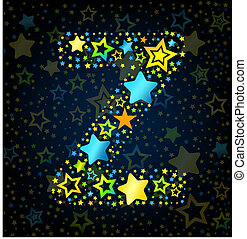 Letter Z cartoon kid style vector font with colored stars