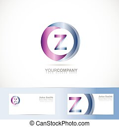 Vector logo template of alphabet letter zA 3d circle with business card