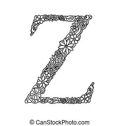 Letter z zentangle for coloring vector decorative object hand letter z coloring book for adults vector spiritdancerdesigns Image collections