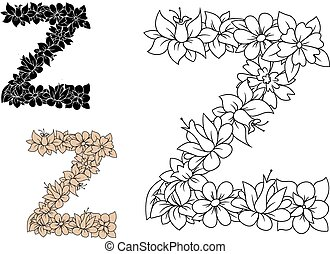 Letter Z decorated by vintage floral elements