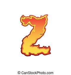 Letter Z fire. Flames font lettering. Tattoo alphabet character. fiery sign alphabet