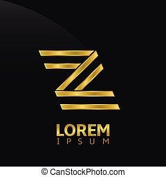 Golden creative abstract letter Z logo template. Vector illustration