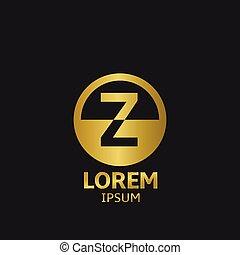 Golden letter Z logo template. Vector illustration
