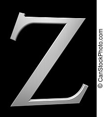 Letter Z in brushed steel isolated on black with clipping path