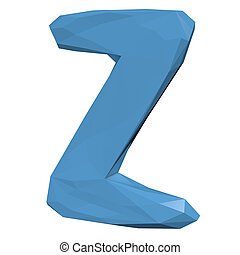 Letter Z in Low Poly Style on white background.3D Rendering. Illustration