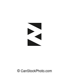 Letter Z logo black and white graphic geometric triangle flat shape, abstract zipper emblem